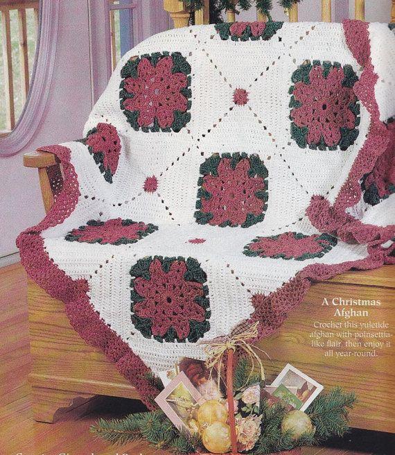 Crochet Afghan Patterns Christmas : Christmas Afghan Crochet Pattern - Poinsettia