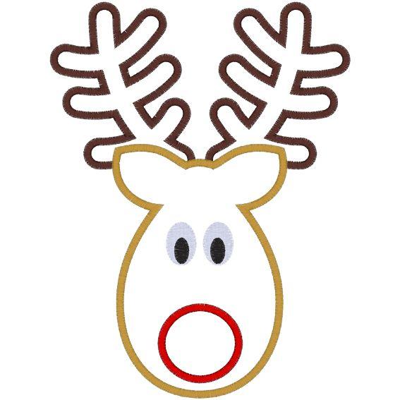 Rudolph (A33) Reindeer Applique 5x7 | Appliques | Pinterest