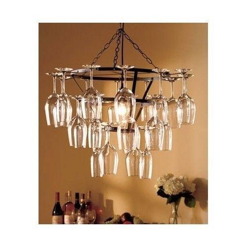 Modern wine glass chandelier tuscany lamps rack bottle light fixture - Wine bottle light fixture chandelier ...