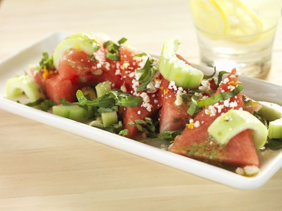 Sugar Baby Watermelon Salad with Sliced Cucumber, Crumbles of Fresh ...