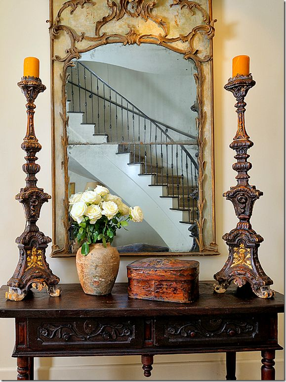 mirror and candlesticks