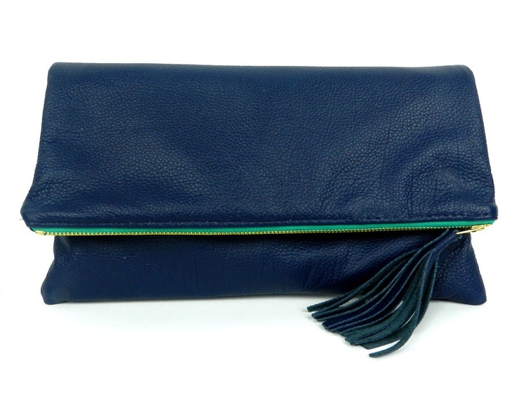 Navy Fold Over Clutch with Green Zipper