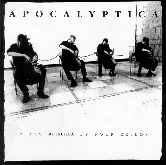 """""""Plays METALLICA by four cellos"""" cover art by Apocalyptica."""