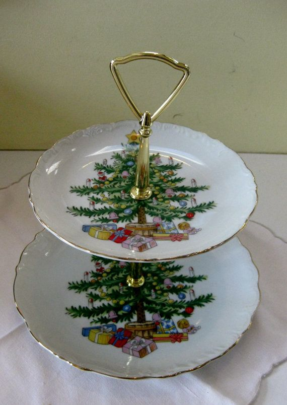 Christmas tree tiered serving plates