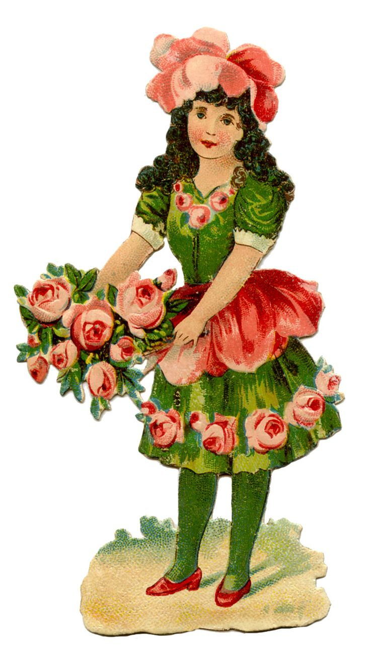 Victorian girl with roses--the Graphics Fairy