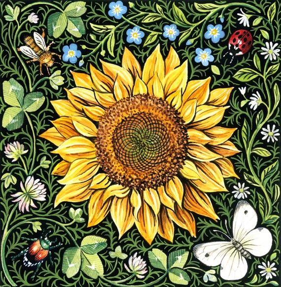 Sunflower artwork - beautiful. Go to www.YourTravelVideos.com or just ...