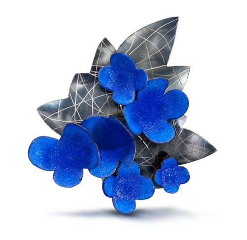 Wendy McAllister Brooch: Blue Leaf Vitreous enamel, copper, oxidized sterling silver 7.6 x 8.3 x 1.9 cm