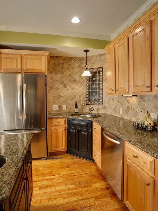 Natural Maple Cabinets With Natural Oak Floors Love The Back Splash