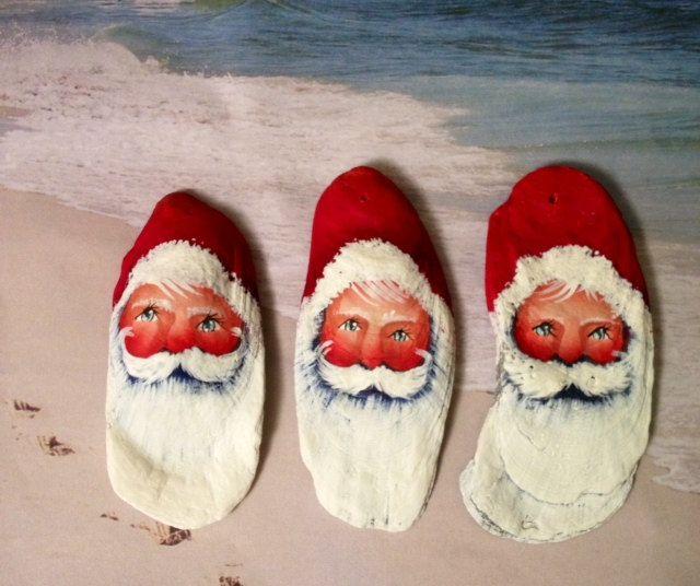 Oyster Sea Shells Set Of Three Santa Christmas Ornaments