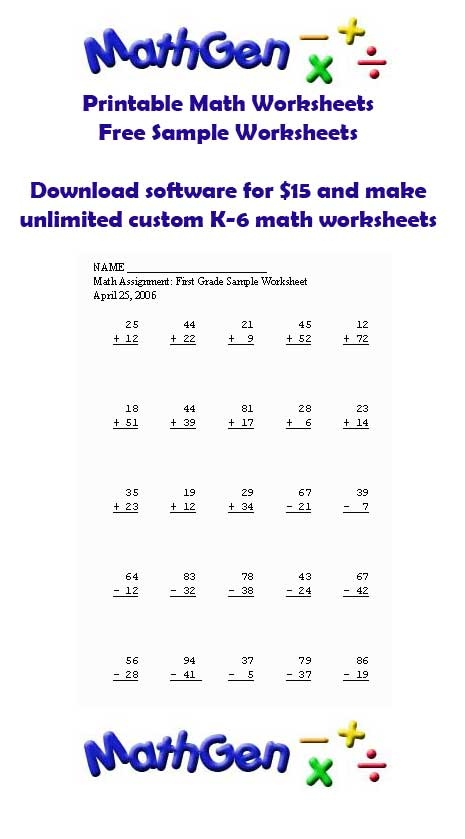 Basic math facts worksheets for first grade