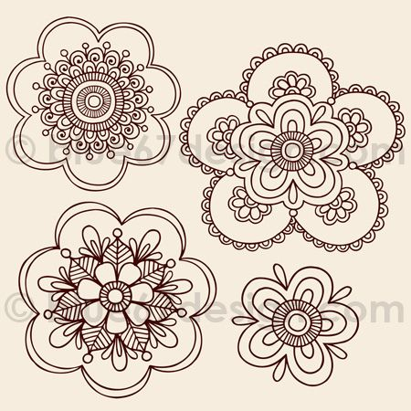 Henna Tattoo Paisley Doodle Flowers by blue67design