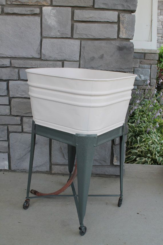Wash Tub With Stand : Vintage Square Wash Tub With Stand