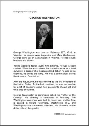 George washington biography short summary