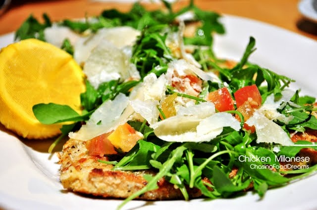 chicken milanese with fresh arugula and shaved parmesan