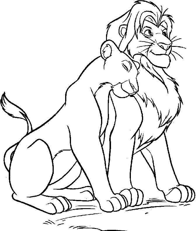 Free nala and simba coloring pages