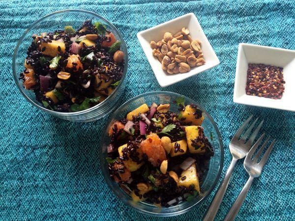 Black Rice Salad with Mango and Peanuts, Vegan / Gluten-Free