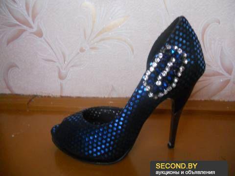 Women evening shoes dark blue