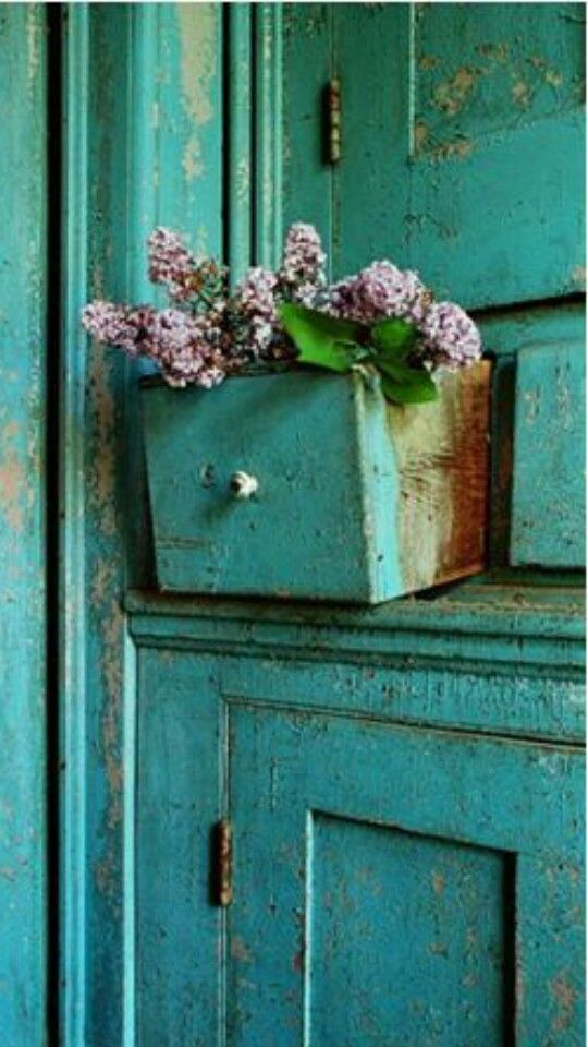 Distressed turquoise furniture Upcycle