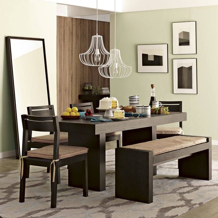 terra dining bench and four matching dining room chairs from west elm