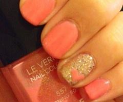 peach heart nails