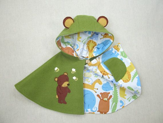 Children Capelet  Bear  Cape Poncho Jacket Baby by ViolaStudio, $99.00
