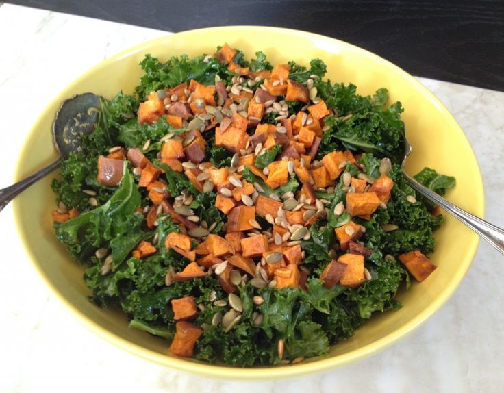 Kale & Roasted Sweet Potato Salad with Maple Vinegarette // Roll With ...