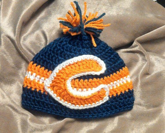Free Crochet Pattern For Chicago Bears C : Crochet Chicago Bears Baby Beanie