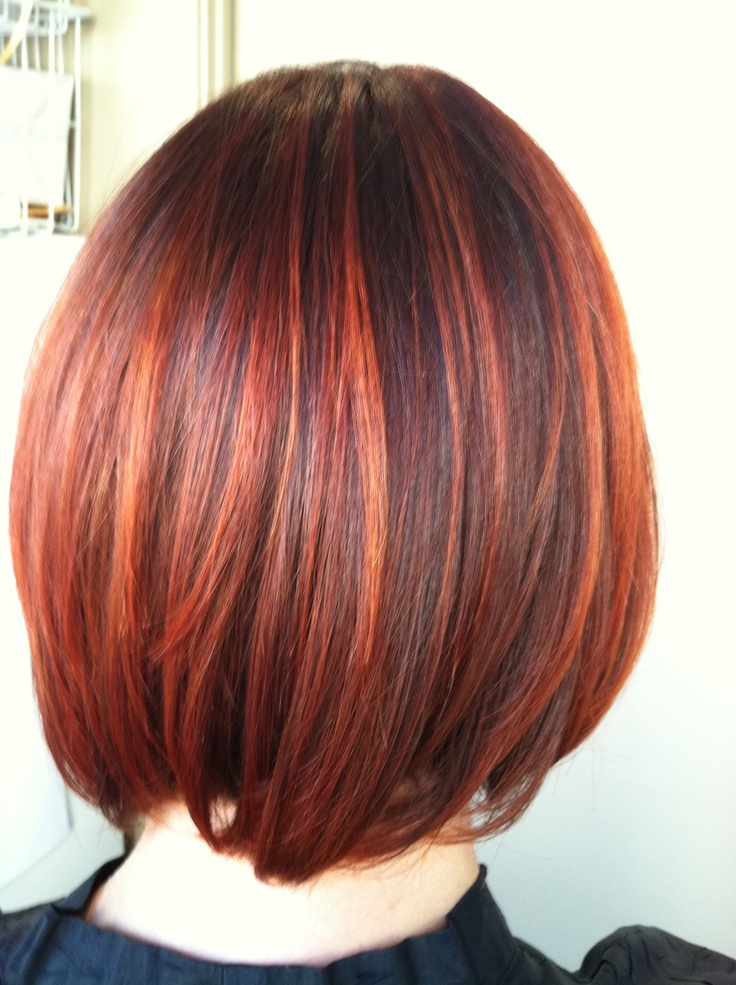 Copper Red Hair With Highlights - Dark Brown Hairs