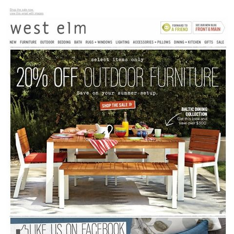 west elm - 20% off outdoor furniture  Deal Hunting  Pinterest