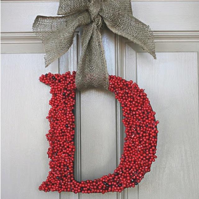 Initial wreath - berries and burlap