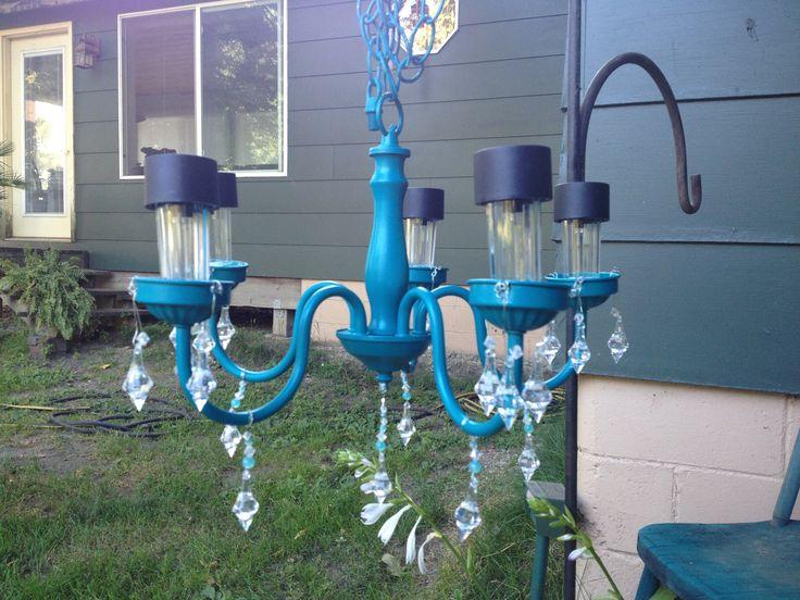 Solar light chandelier things i 39 ve done pinterest for Solar light chandelier diy