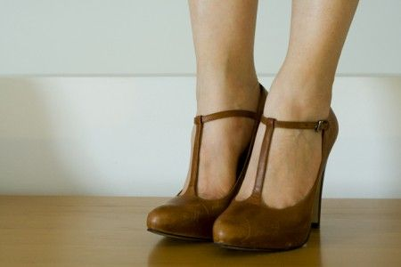 brown t bar shoes