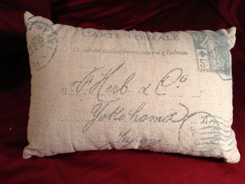 Throw Pillows With French Script : French Script Burlap Throw Pillow eBay Sewing - Other Stuff Pin?