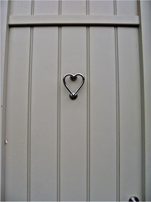 Nickel Heart Door Knocker and door in French Gray.