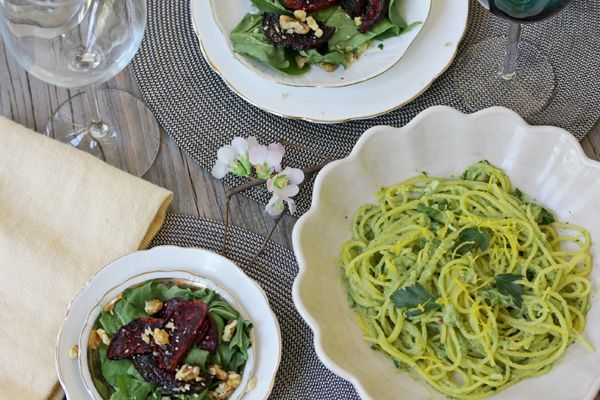 vegan dinner for two: creamy avocado pasta and a balsamic roasted beet ...