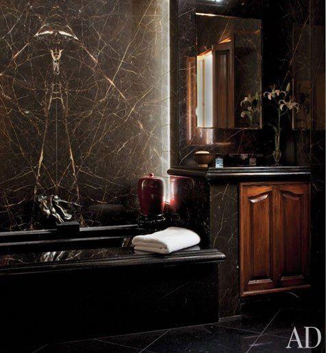 Black Stone Bath : black marble, both real and trompe l?oeil, animates the master bath ...