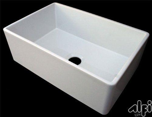White Farmhouse Sink 30 Inch : 30-Inch Contemporary Smooth Fireclay Farmhouse Kitchen Sink, White ...