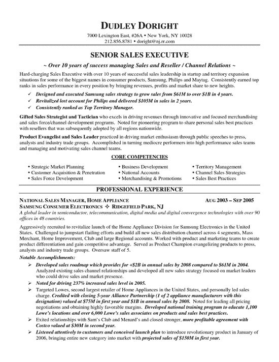 Resume Sample For Sales Position