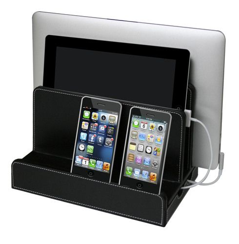 Black Leatherette Multi Charging Station - see all options at ...: pinterest.com/pin/279434351854892729