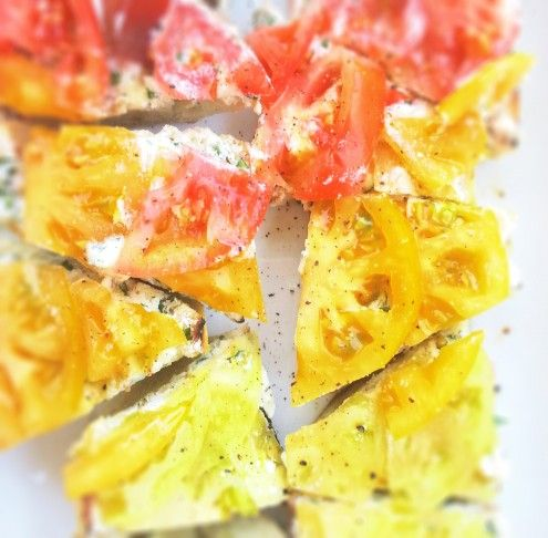Heirloom Tomato Crostini with ricotta chese