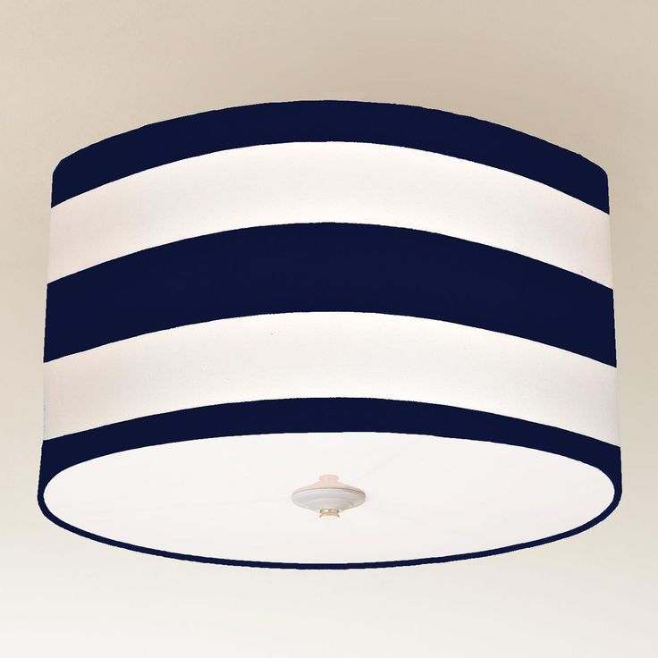 Deck Stripe Drum Shade Ceiling Light Navy And White Perfect For Guest Room