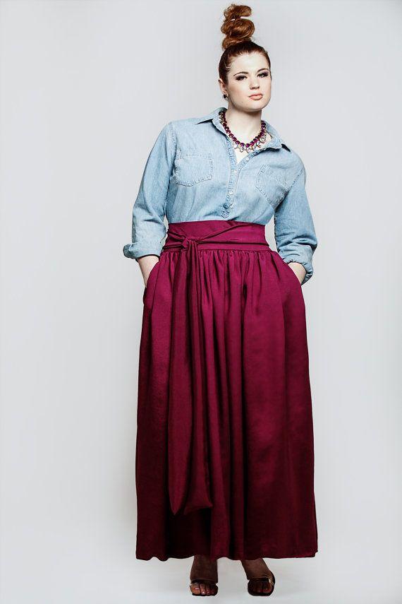 jibri plus size high waist wine berry maxi skirt attached