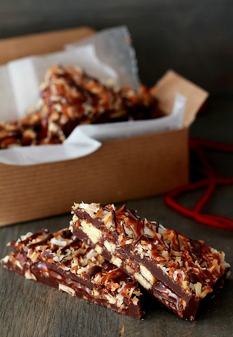 """Samoas are my fave girl scout cookie. here they are in """"bark"""" form"""