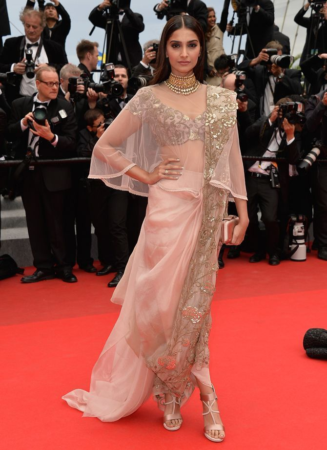 Cannes 2014 sighting: Sonam Kapoor WOWS in fusion fashion - Rediff.com Movies