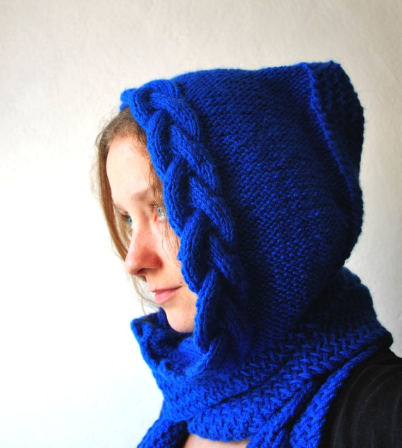 Knit hooded scarf for women, snood, hand knit, warm scarf