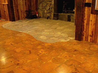 Log tile flooring