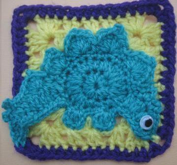 Crochet Dinosaur Afghan Pattern : Stegosaurus dinosaur crochet rugalugs pattern by Crochetroo