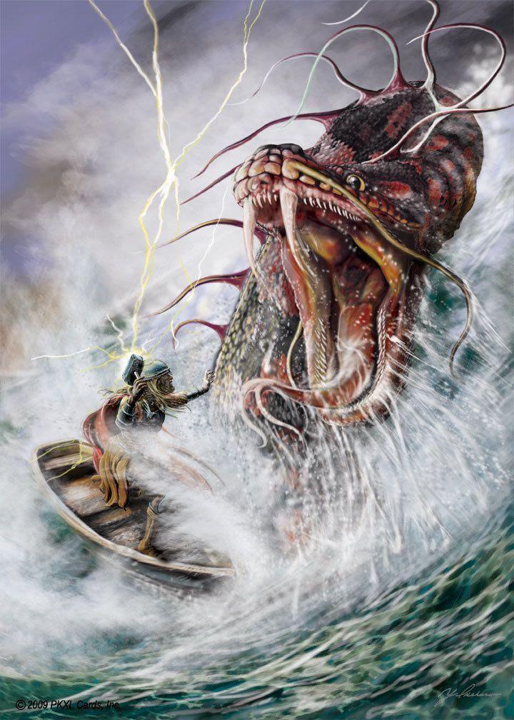 Jormungand the world serpent vs Thor   Norse Mythology ...