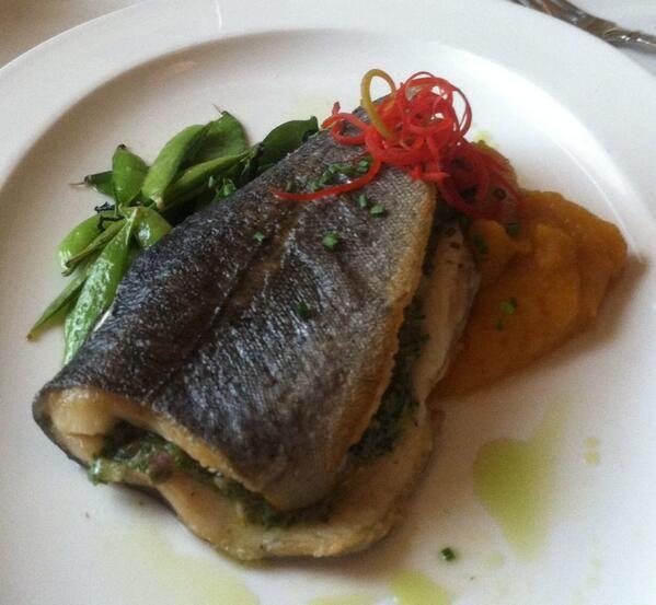 seared rainbow trout stuffed with caper ravigote, sautéed sugar snap ...