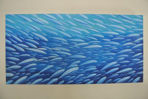 Custom original acrylic fish art painting school of fish for Fish paintings on canvas